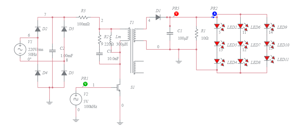 Led Drive Circuit Using Flyback Converter