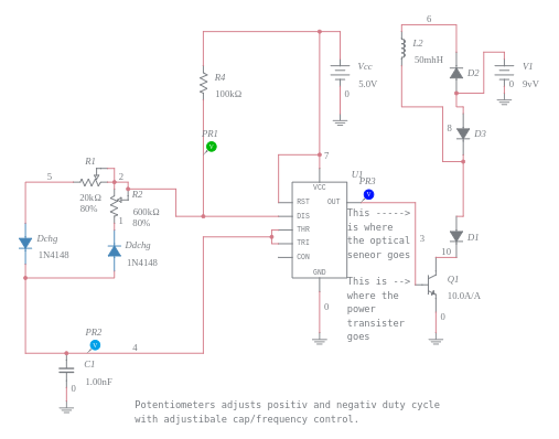 555 timer modified duty cycle astable multivibrator