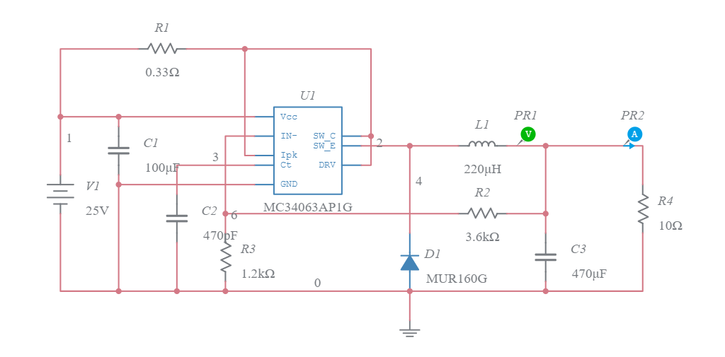step down converter 5v x 0 5a mc34063 multisim liveStep Down Converter Circuit Diagram Using Mc34063a And The Datasheet #20